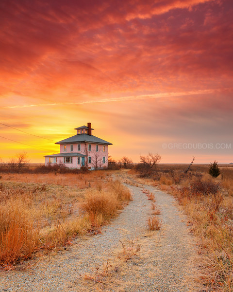 Plum Island Pink House at Sunrise in Newbury Massachusetts