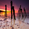 West Beach Beverly Farms Sunrise over Decayed Pier and Atlantic Ocean