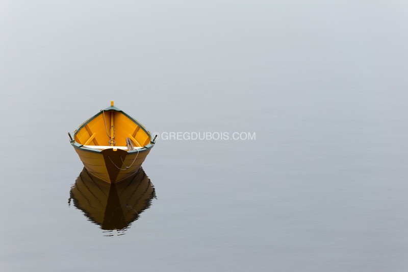 Solo Dory on Calm Water of Merrimack River at Lowell's Boat Shop Amesbury Massachusetts