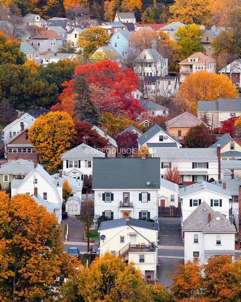 Boston Suburban Neighborhood in Fall