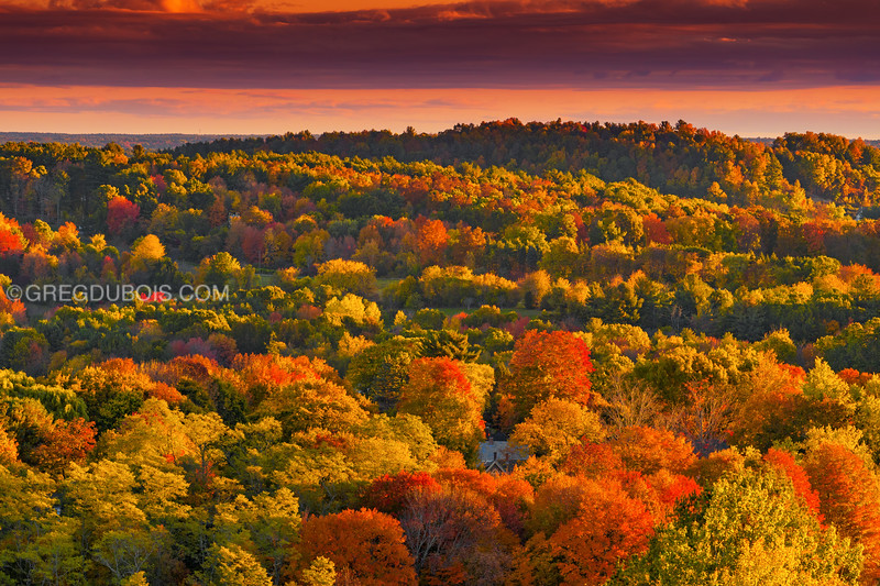 House with Rolling Hills of Merrimack Valley in Fall with Golden Light in Amesbury Massachusetts (One)