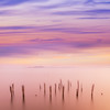 Fog Breaks over Decayed Pier in Boston Harbor at Sunset with Pastel Sky