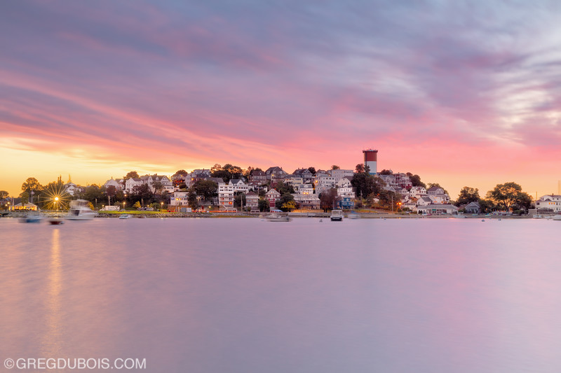 Cottage Hill (Winthrop Head) over Boston Harbor in Winthrop Massachusetts at Sunrise