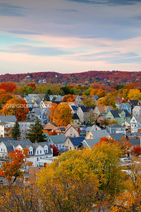 Fall Colors and Sunset over Everett Massachusetts in Boston Suburbs