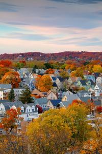 Fall Colors and Sunset over Everett Massachusetts in Boston Suburbs