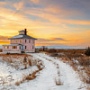 Plum Island Pink House with Snow at Sunrise