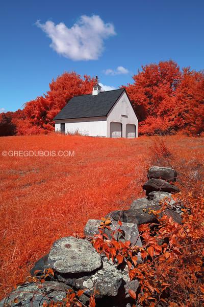New England Barn and Farmstead Stone Wall in Boxford Massachusetts in Kodak Aerochrome