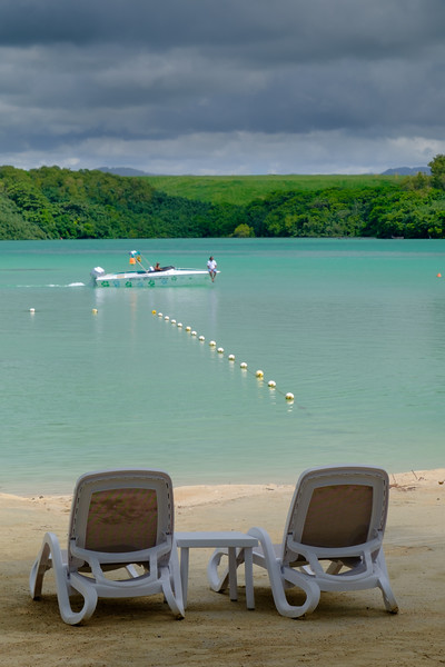 Empty beach chairs in Mauritius
