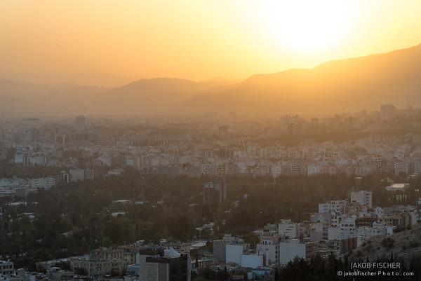 cityscape of Shiraz at sunset