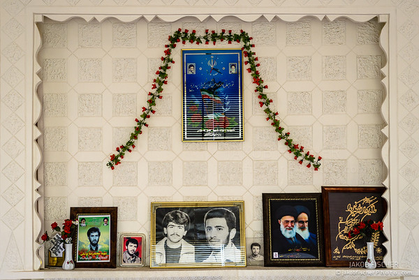 KASHAN, IRAN - OCTOBER 13, 2014: wall of a living room as a homage on the Iranian-Iraq war