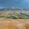 Mountains surrounding Badab-e Surt travertine terrace, Iran