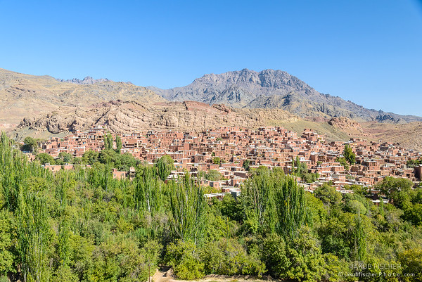 Panoramic view over Abyaneh village, Iran