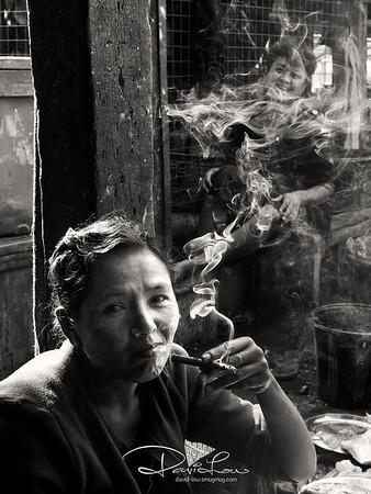 A vendor at Sittwe market, Mrauk