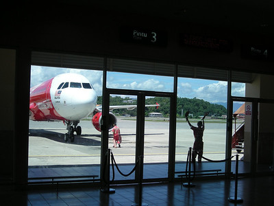 the Air Asia flight arriving in Koto Kinabalu, Sabah