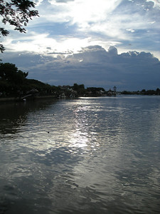 early evening along the riverside corniche in Kuching