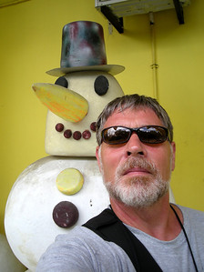 posing with Frosty in Borneo
