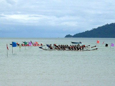start of the annual Dragon Boat Race outside Koto Kinabalu, Sabah