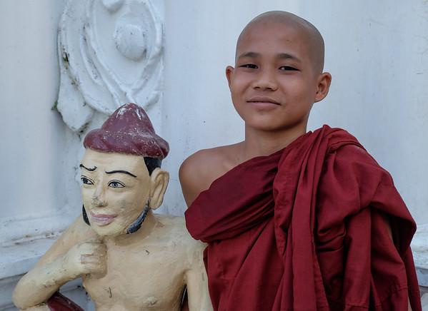 Novice at Shwedagon, Yangon