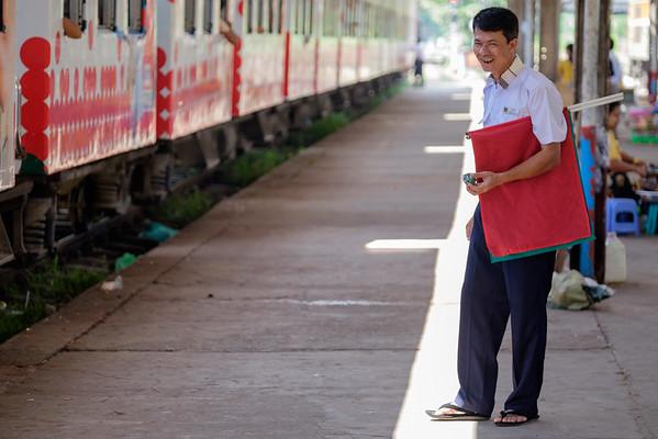 Flagman at Yangon station