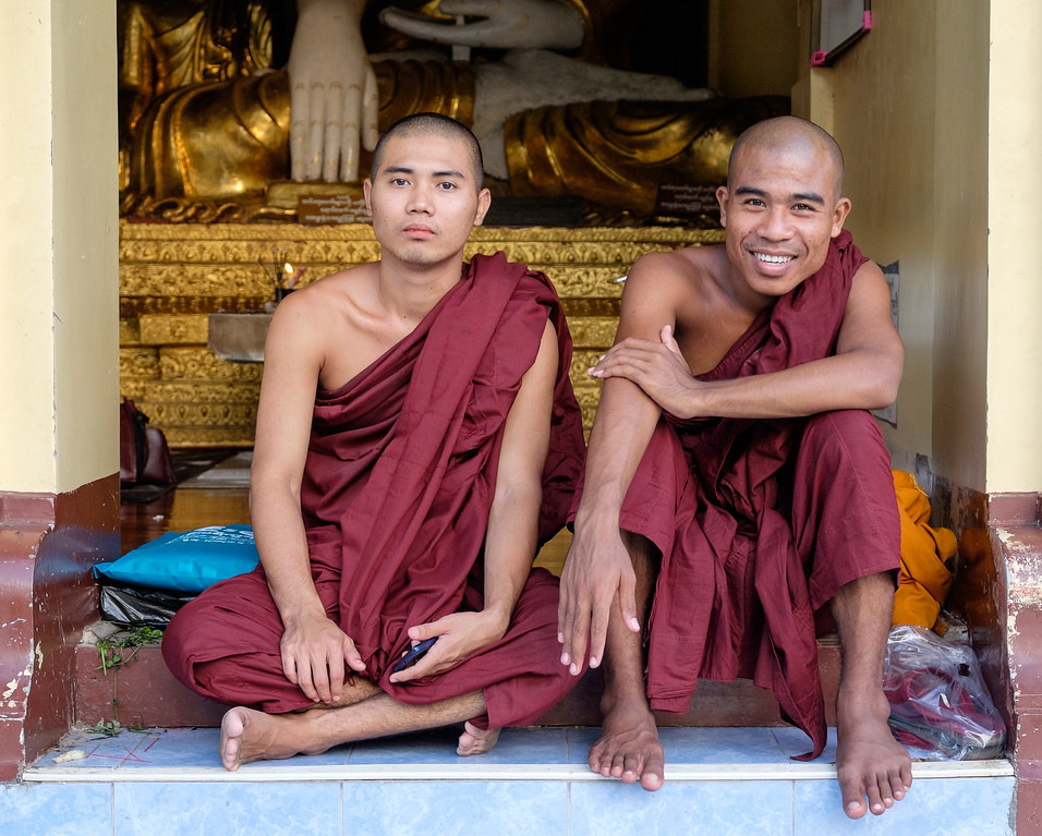 Monks at Shwedagon, Yangon