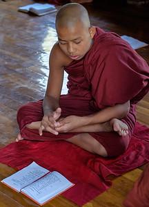 Studying at the Shwe Yan Pyay monastery Inle lake
