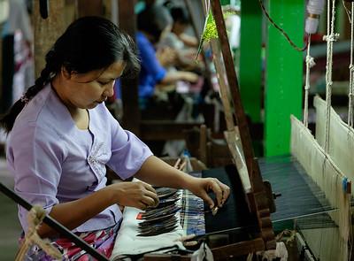 Silk weaving workshop near Mandalay