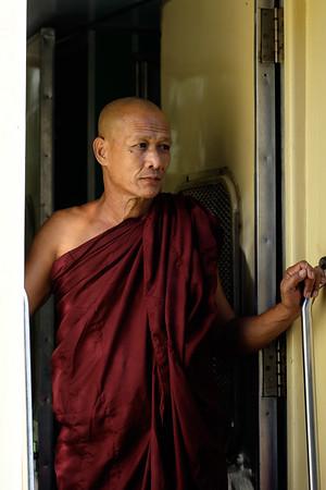 Monk at Yangon station