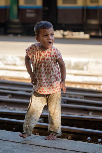 Streetchild at Yangon trainstation
