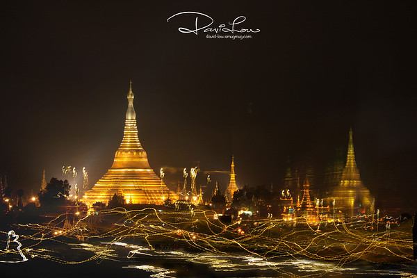A country of many temples - Presently about 2,300 temples left, down from 13,000+ temples at the peak before being destroyed. These photomontages are intended to convey my abstract expressions of the many brightly lit temples in the night located within busy roads.
