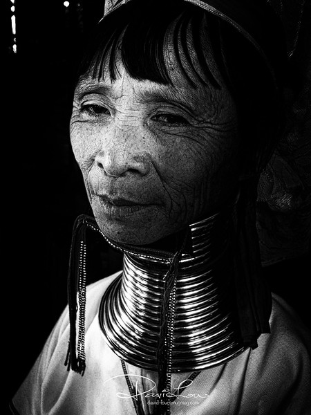 Padaung tribe - My slightly top down angle has even further exaggerated her already frail body (taken with Ex-1)