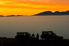Namibia, Africa: Touring Trucks at Sunrise at Sossusvlei
