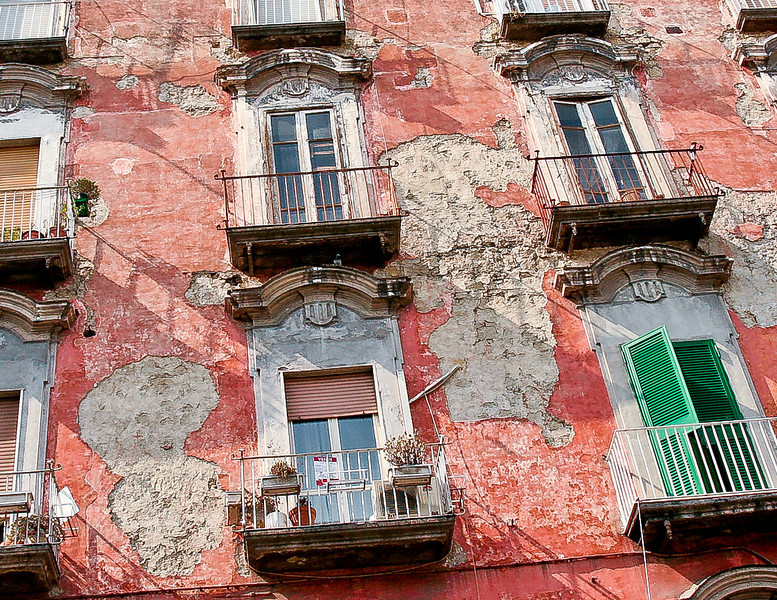 Peeling paint, old building, Naples, Italy