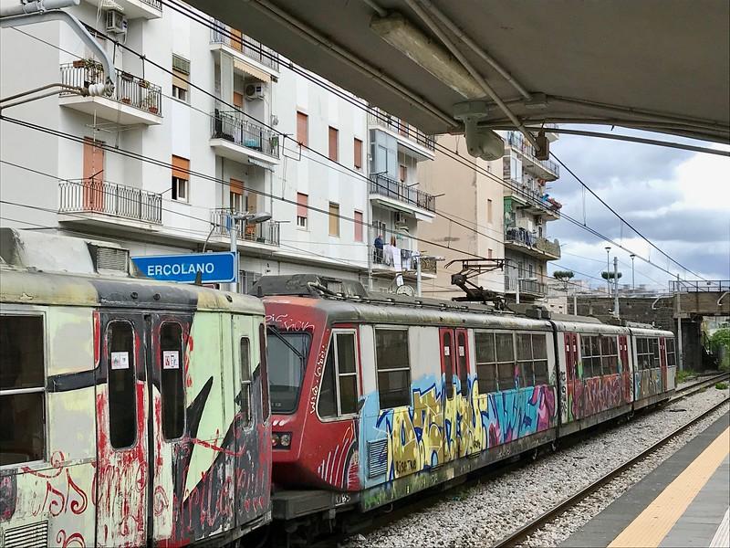 Circumvesuviana train at Ercolano