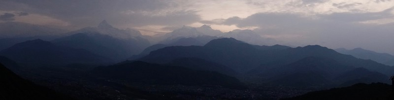 sunrise at Sarangkot over the Annapurna range