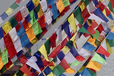 prayer flags at Boudhanath stupa, Kathmandu