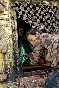 caretaker at Swayambhunath stupa