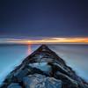 Stormy Sunrise over Atlantic Ocean Horizon and Jetty, Hampton Beach State Park New Hampshire
