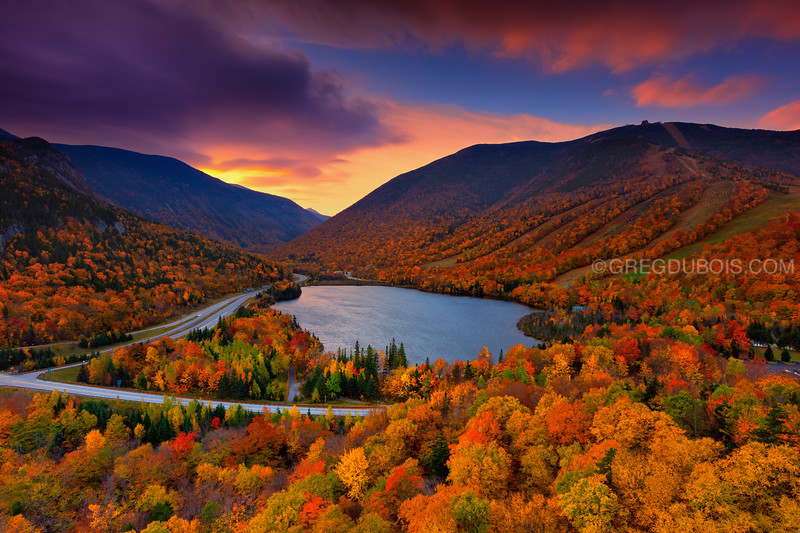 Sunrise over Echo Lake with Peak Autumn Colors, White Mountains New Hampshire