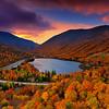 Echo Lake with Peak Autumn Colors at Sunrise, White Mountains New Hampshire