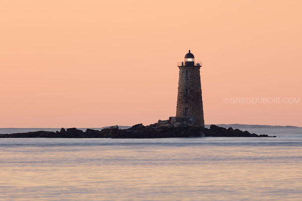 Whaleback Light at Sunrise from New Castle New Hampshire