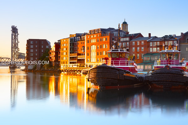 Portsmouth New Hampshire Tug Boats with Skyline and Memorial Bridge at Sunrise