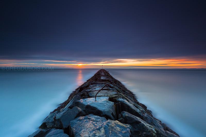 Hampton Beach State Park New Hampshire, Stormy Sunrise over Jetty and Atlantic Horizon