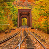 Train Trestle and Fall Foliage in White Mountains New Hampshire (One)