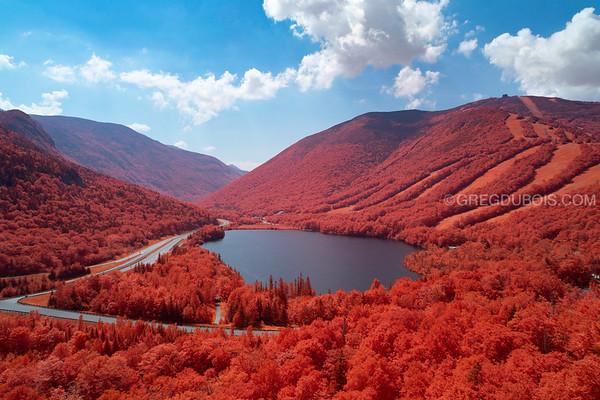 Echo Lake New Hampshire at Franconia Notch State Park in Kodak Aerochrome