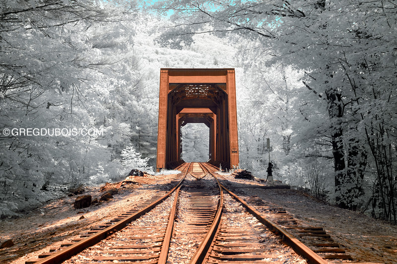 Historic Railroad Trestle in White Mountains New Hampshire with 720nm Infrared