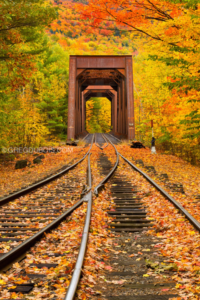 Train Trestle and Fall Foliage in White Mountains New Hampshire (Two)