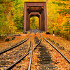 Train Trestle and Autumn Color in White Mountains New Hampshire
