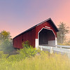 Carlton Covered Bridge in Swanzey New Hampshire with Foggy Sunrise