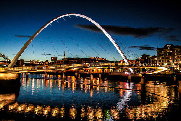 Gateshead Millennium Bridge; Newcastle; England, U.K