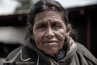 Portrait of an elderly Mayan woman near Lake Atitlan, Guatemala.